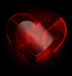 dark heart crystal and rose vector image vector image