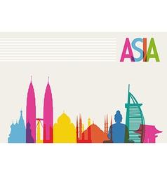 Diversity monuments of asia famous landmark colors vector