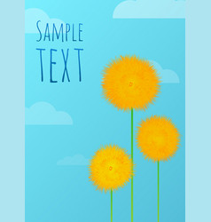 Floral background with yellow dandelions clouds vector