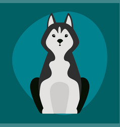 Funny cartoon huskies dog character black white vector
