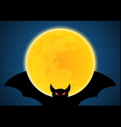 halloween flying bat and moon vector image
