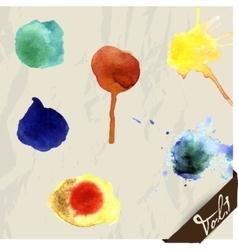 Hand drawn watercolor splashes set vector image
