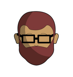 Man head and face with beard and glasses vector