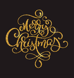 merry christmas golden text on dark brown vector image vector image