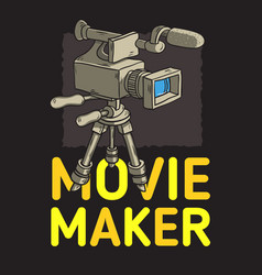 Movie maker poster design with isolated video vector