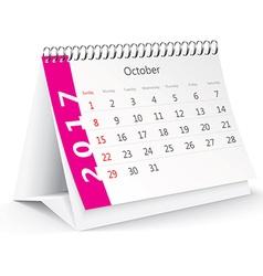 October 2017 desk calendar - vector