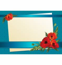 paper with ribbon and poppy vector image