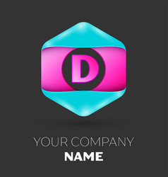 Realistic letter d logo in colorful hexagonal vector