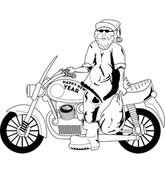 Santa with motorcycle vector image