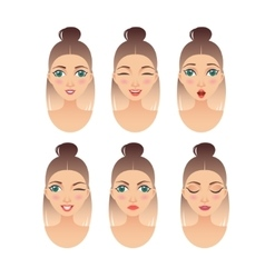 set of girl faces with different expressions vector image