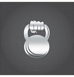 Silver hand holding kettlebell design template vector