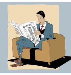 Solid man reading a newspaper vector image