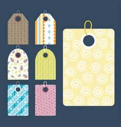 Stylish price clothes tag with pattern sale card vector