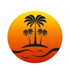 Sunset island with palm trees vector