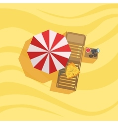 Swimshorts sunbed and umbrella spot on the beach vector