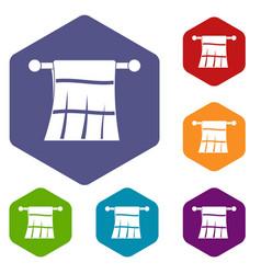 Towel on a hanger icons set hexagon vector