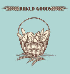 Vintage baked goods basket vector