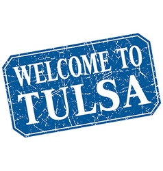 Welcome to tulsa blue square grunge stamp vector