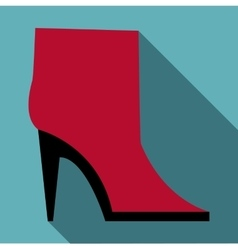 Woman boot icon flat style vector