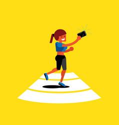 Woman selfies with sport suit vector