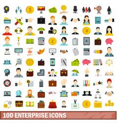 100 enterprise icons set flat style vector