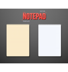 Notepad set notebook white yellow sheets vector