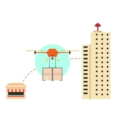 Food delivery in town with drone vector