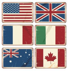 Retro tin signs with state flags vector