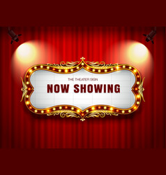 Theater sign on curtain vector