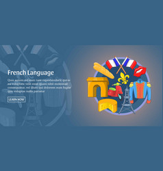 french language banner horizontal cartoon style vector image