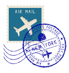 Air mail stamp new york post round impress vector