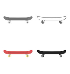 Skateboard icon in cartoon style isolated on white vector