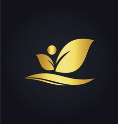 Leaf beauty organic gold logo vector