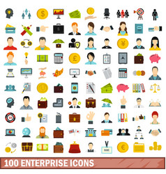 100 enterprise icons set flat style vector