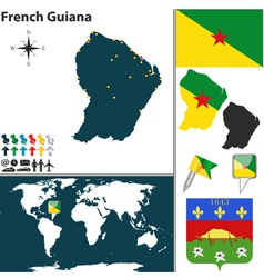 French guiana map world vector