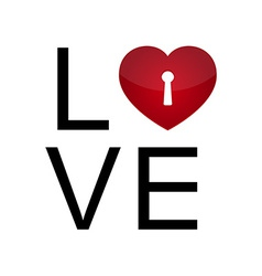 Love with keyhole heart vector