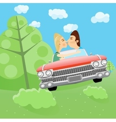 Man and woman kissing in a car vector