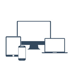 Electronic devices with white blank screens - vector