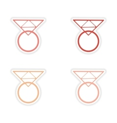 Assembly realistic sticker design on paper rings vector