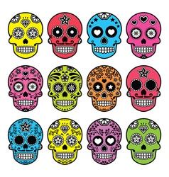 Halloween Mexican sugar skull Dia de los Muertos vector image