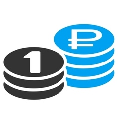 Rouble coin stacks icon vector