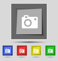 Camera icon sign on original five colored buttons vector