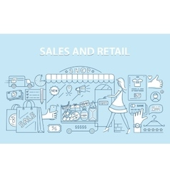 Line style design concept of retail commerce and vector