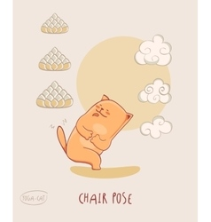 Red yoga-cat in chair pose vector