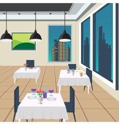 Restaurant interior with tables and meals vector