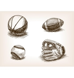 Ball and sport glove hand drawn sketch vector image