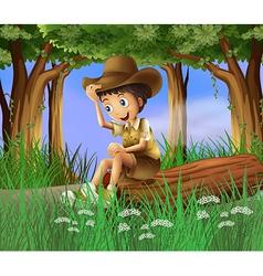 A boy sitting at the log vector image
