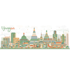 Abstract yangon skyline with color buildings vector