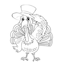 animal outline for wild turkey vector image
