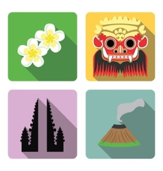 Bali set of flat icons vector